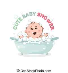 prend, bath., illustration, bain, bubbles., bébé, joyeux, gosse