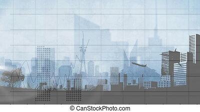 prendre, cityscape, traitement, animation, fermé, statistiques, données, sur, avion