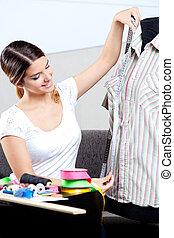 prendre, concepteur, mode, femme, mesure