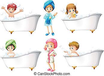 prendre, enfants, bain
