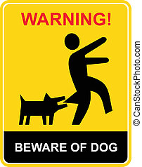 prendre garde, avertissement, -, chien
