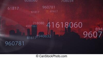 prendre, nombres, fond, cityscape, animation, fermé, sur, rouges, traitement, avion