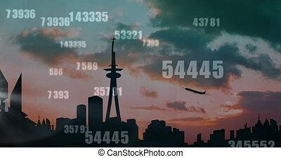 prendre, nombres, fond, cityscape, animation, fermé, sur, traitement, avion