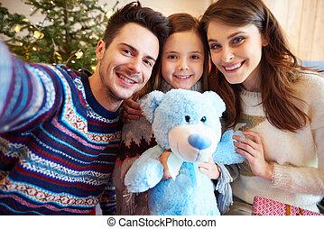 prendre, selfie, père noël, famille