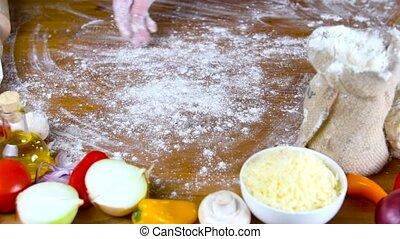 prepearing, pâte, fait maison, pizza