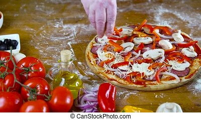 prepearing, savoureux, fait maison, pizza