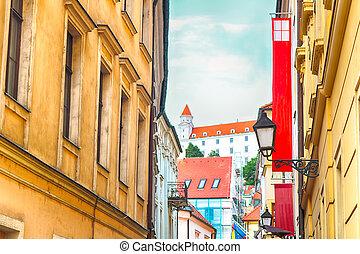 prepostska, slovaquie, château, rue, bratislava, bratislava, vue