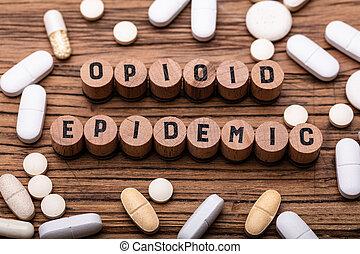 prescription, bouchon, opioid, pilules, texte, épidémie