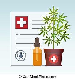 prescription, healthcare, oil., monde médical, cannabis, cbd, plante, marijuana., compte-gouttes, marijuana