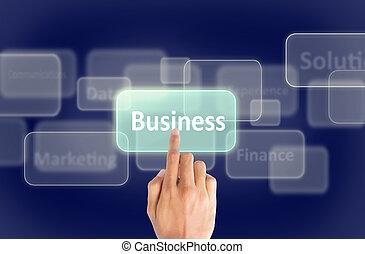 presse, écran tactile, business, main