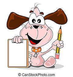 presse-papiers, dessin animé, chien