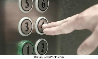 presses, plancher, bouton, ascenseur, quatrième, homme