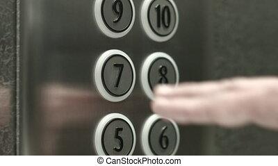 presses, plancher, bouton, septième, ascenseur, homme