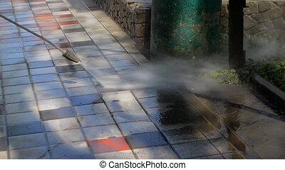 pression eau, rue, nettoyage
