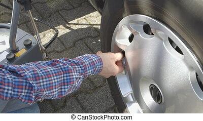 pressu, pneu, vérification, voiture, -, soin