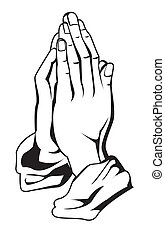 prière, main