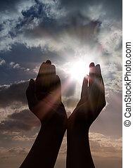 prière, mains, soleil