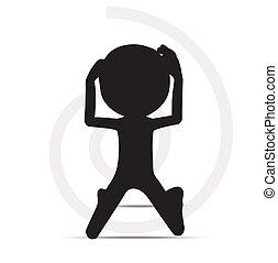 prière, silhouette, 3d, homme