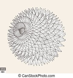 prickles., géométrique, sphère, résumé, object., vecteur, illustration., 3d