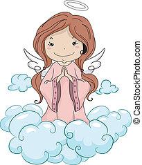 prier, ange, girl