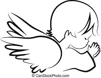 prier, ange, vecteur, croire, enfant, icône