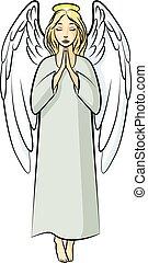 prier, dessin animé, ange