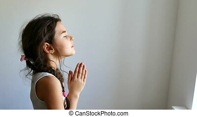prier, girl, église, adolescent, prière, croyance, dieu