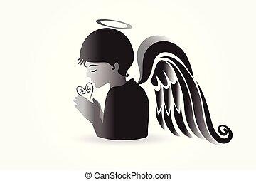 prier, logo, vecteur, ange
