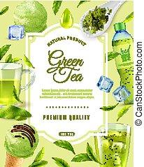 prime, arrière-plan vert, thé