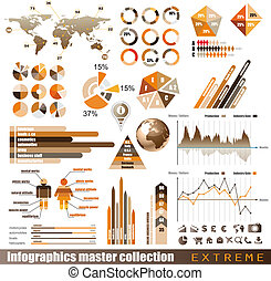 prime, histograms, elements., icônes, globe, graphiques, diagramme, conception, flèches, lot, infographics, maître, collection:, apparenté, 3d