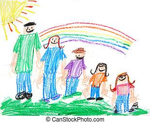 primitif, gosses, schéma crayon, famille