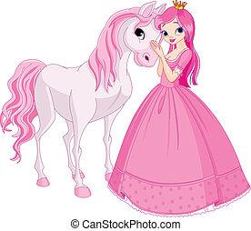 princesse, cheval, beau