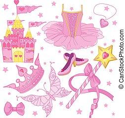 princesse, ensemble, ballerine