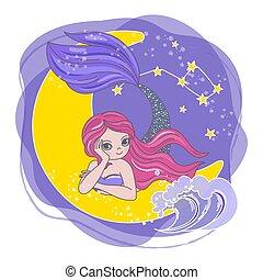 princesse, espace, lune, ensemble, dessin animé, vecteur, sirène, illustration