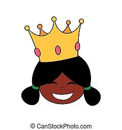 princesse, peu, heureux, tête, africaine