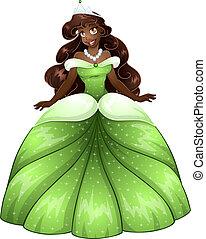 princesse, robe, africaine, vert