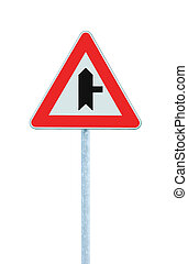principal, isolé, signe, poteau, avertissement, droit, carrefour, route