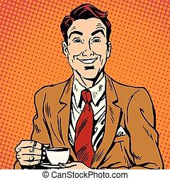 printavatar, café, homme, boire, portrait