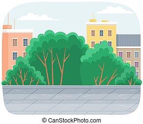 printemps, élevé, arbres, route, paysage, parc, ville, nuageux, été, ciel, dessin animé, saison, vert, ou