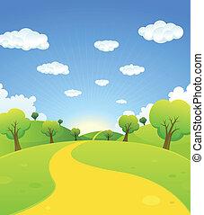 printemps, été, dessin animé, paysage, ou