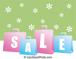printemps, achats, vente, sacs