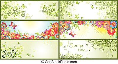 printemps, bannières horizontales