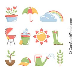 printemps, blanc, isolé, icônes
