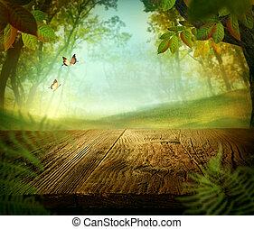 printemps, -, bois, conception, forêt, table