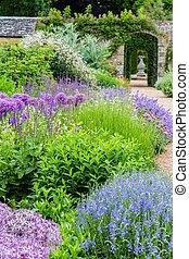 printemps, britannique, coloré, jardin, sussex, château, pendant, frontière