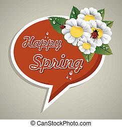 printemps, bulle discours, heureux