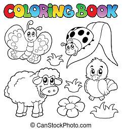 printemps, coloration, animaux, livre