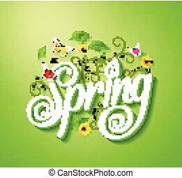 printemps, concept, mot, typographie