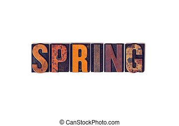 printemps, concept, type, isolé, letterpress