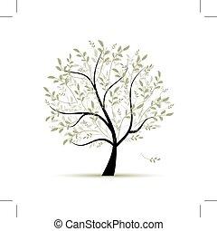 printemps, conception, arbre, vert, ton